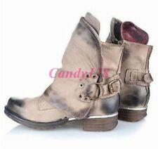 New Womens Western Ankle Boots Cowboy Biker Combat Buckle Round Toe Punk Shoes