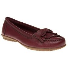 New Womens Hush Puppies Red Ceil Mocc Leather Shoes Flats Slip On