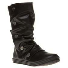 New Womens Blowfish Black Rammish Synthetic Boots Knee-High Zip