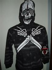 Extreme Fighter Skeleton Full Zip Hoodie Jacket Costume Boys New