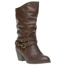 New Womens Rocket Dog Brown Swindon Synthetic Boots Mid-Calf Buckle Pull On