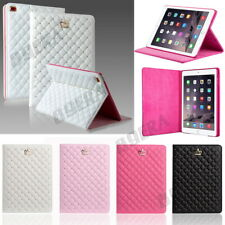 Diamond Crystal Bling Crown Quilted Leather Case Smart Cover Kickstand For iPad