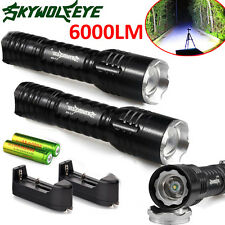 2x6000LM Rechargeable Tactical CREE Q5 LED Flashlight +18650 Battery&Charger LOT