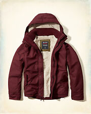 NWT Hollister-Abercrombie&Fitch Mens All-Weather Jacket Sherpa-Lined Burgundy XL