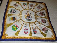 """HOLT RENFREW CANADIAN HERITAGE CREST 100% SILK SCARF ITALY 34"""" x 35"""" BOXED"""