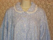 Lanz of Salzburg LONG Soft Cotton Flannel Nightgown M L Blue White Country Print