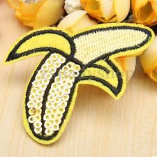 1-12pcs Banana Sequins Embroidered Iron Sew On Cloth Patch Motif Applique Badge
