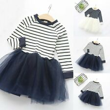 Kids Baby Girls Long Sleeve Striped Dress Princess Party Tulle Tutu Dresses 2-7Y