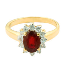 1.35 Carat Ruby Genuine Gemstone Diamond Ring In 14kt Yellow Gold Jewelry