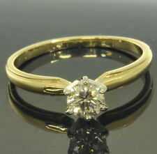 14k Yellow Gold 3/8 Ct Round Brilliant Diamond Solitaire Engagement Ring