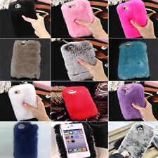 Luxury Winter Warm Soft Furry Rabbit Fur Back Case Cover For iPhone 6 6s 7 Plus