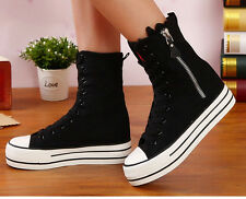 Womens  Casual Lace Up Zipper Canvas Shoes Size Fashion Black High Top Sneakers
