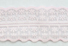 10 Meters Pale Pink Embroidered Net Lace Trim Ribbon 40mm #22776