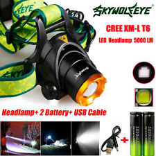 5000LM CREE XM-L T6 LED Headlamp Head Light + 2x Rechargeable USB Battery free