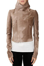 RICK OWENS Woman New Beige Velvet Biker Jacket Made in Italy Original