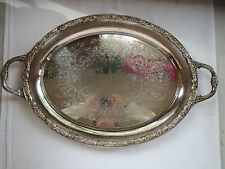 "Wm Rogers & Son VICTORIAN ROSE 24"" Silverplate Oval Serving Tray 3027-2"