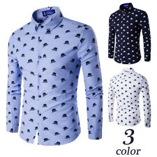 New Mens Printing Business Stylish Slim Fit Long Sleeve Casual Leisure Shirt
