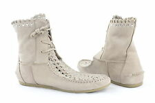 NEW Sam Edelman Beige Leather Silver Studded Women's Ankle Bootie Retail $255