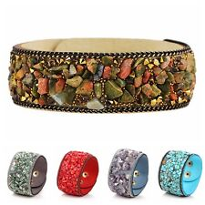 Hot Women Crystal Stone Bracelet Wristband Cuff Punk Gothic Bangle Jewelry Gift