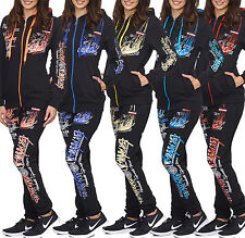 Women's St. Tropez Neon Colour Jogging Suit Running Jacket Trousers Trackies