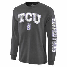TCU Horned Frogs Charcoal Distressed Arch Over Logo Long Sleeve Hit T-Shirt