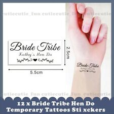 12 x Personalised Name Team Bride Tribe Hen do Wedding Party Temporary Tattoos