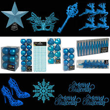 Blue Glitter/Plain Christmas Tree Decorations Baubles Stars Cones & More