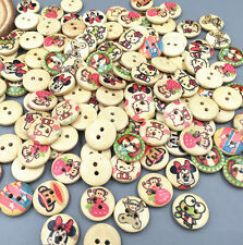 50-100PCs Crafts Mixed Natural Cartoon Animals 2 Hole Button Buttons Sewing 15mm