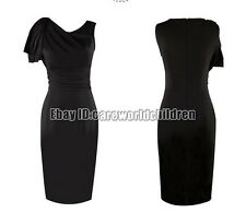 Women Fitted Stretch Slim Wiggle Elegant Ruffle Ruched Party  Pencil  Dress