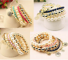 New Arrived Korea Style Gold Plated Multilayer Pearl Beads Coin Bangle Bracelet