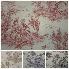 TOILE DE JOUY PRINT 100% COTTON CRAFT UPHOLSTERY FABRIC