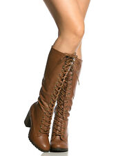 Rattle Black Cognac Knee High Lace up Riding Boot Block High Heel Women's shoes