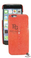 PELGIO Genuine Polished Stingray Skin Leather iPhone 7 Hard Case Back Cover Red