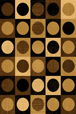 Brown Ebony Modern Area Runner Rug Contemporary Abstract Squares Circles Carpet