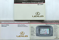 2003 Lexus RX300 Owner's Manual W/ Supplement Factory Book Warranty Navigation
