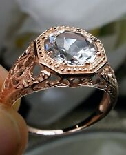 1.9ct White Topaz 14k Rose Gold Victorian Filigree Ring Size: {Made To Order}