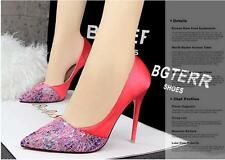 Banquet High Heels Women's Shoes Shallow Mouth Mesh Print Pointed Shoes Fashion