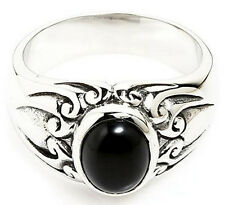BLACK ONYX TRIBAL TATTOO 316L STAINLESS STEEL RING