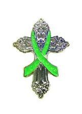 Lime Green Religious Cross Cancer Church Silver Plated Cancer Awareness Pin New