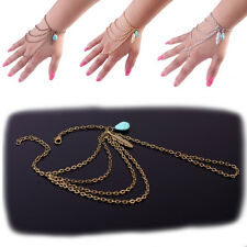 Charming Boho Spangle Turquoise Bracelet Multilayer Harness Hand Chain Bangle