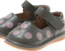 Discontinued Toddler Leather Girl's Squeaky Shoes Grey with Pink Dots Sizes 1&2