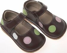 Discontinued Toddler Girl's Leather Squeaky Shoes Brown with Multi Colored Dots