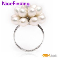 Natural Pearls Cluster Fashion Rings Gold Plated Women Jewelry Christmas Present