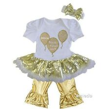 Baby Personalized New Year 2017 Gold Balloons White Gold Sequin Bodysuit Tutu