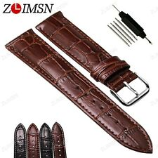 Men Watch Band Strap Cocro Black Brown Genuine Leather Silver Clasp 18~24mm 26mm