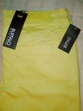 Buffalo Gibson Skinny Size 26 x 29 Mid Rise Womens Yellow Jeans New $119