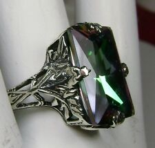 10ct *Mystic Topaz* Sterling Silver 1930's Art Deco Filigree Ring Size ANY/MTO