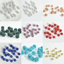 Cute 20PCS Czech Crystal Rhinestones Pave Clay Round Disco Ball Spacer Beads New