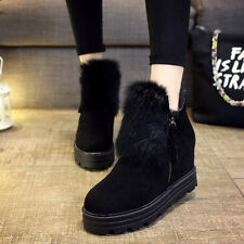 Womens Winter Ankle Snow Boots Faux Fur Suede Side Zip Hidden Heels Wedge Shoes