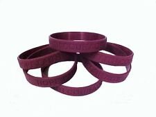 "Burgundy Awareness Bracelets 6 Piece Lot Silicone Wristband IMPERFECT 8"" New"
